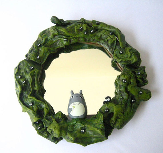 My Neighbor Totoro Figure Teak Wood Wall Mirror 5