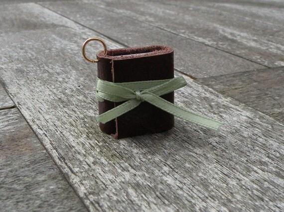 Tiny Leather Journal/pendant
