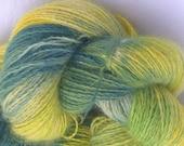 Hand Painted Art Yarn, Sunshine and Grass 3, Angora Rabbit Yarn, Extra Large Skein