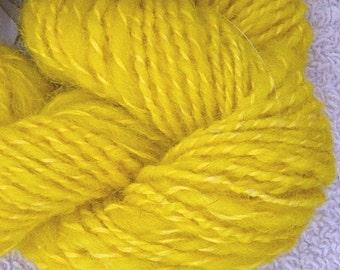 Handspun Art Yarn, Sunshine Yellow, Cheviot and Angora, Hand Dyed