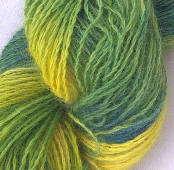 Hand Painted Angora Art Yarn, Sunshine and Grass 1, Large Skein