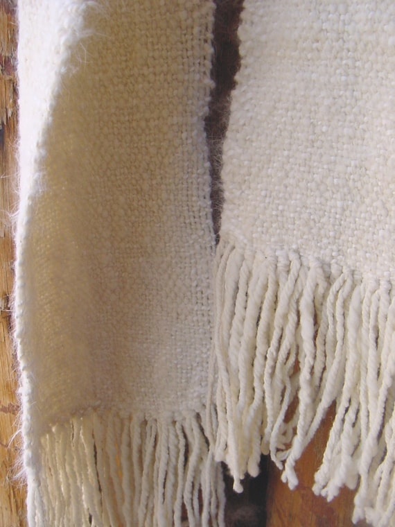 Handspun, Hand Woven Scarf, Creamy White Angora Merino, Extra Long