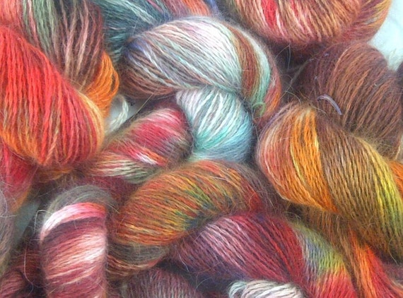 Hand Painted Pure Angora Yarn, Autumn Red, 200 yd Large Skein