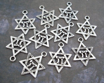 Star of David Chai Charms Antiqued Silver Pendants