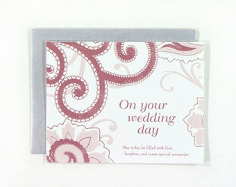 SALE : On Your Wedding Day card - blank wedding card with paisley illustration