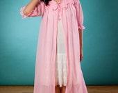 1950's Sheer Pink Peignoir, Medium, Doris Day