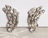 1940's Rhinestone Fireworks Earrings, Hollywood Glamour