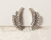 1950's Crystal and Grey Rhinestone Curved Earrings, Wedding, Hollywood Glamour