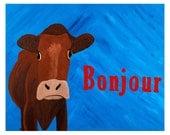 """Bonjour Monsieur de Vache (French Cow) 8""""x10"""" Print"""