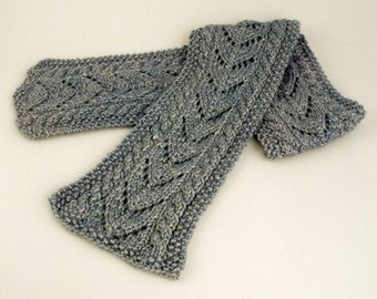 Aran Cable and Lace Scarf Knitting Pattern - PDF