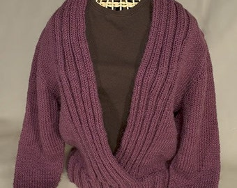 Ribbed Shawl Collar Sweater Pattern - PDF