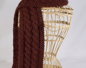 Five Cable Scarf Knitting Pattern - PDF