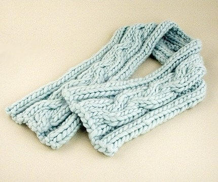 Cable Knit Scarves Patterns : Biggy Cable Scarf Knitting Pattern PDF
