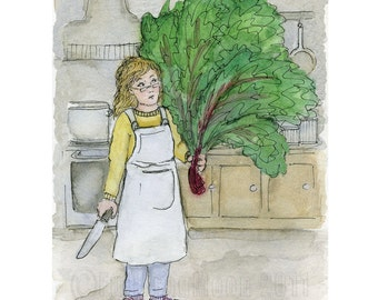 Marie and the Giant Swiss Chard Print