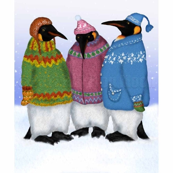 Penguins in Hand Knitted Sweaters Print