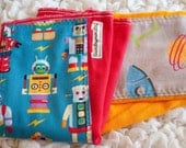 Baby burp cloth Robots and rockets hand dyed burp cloth set on red and school bus yellow