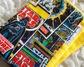 Baby burp cloth - Bright yellow STAR WARS hand dyed burp cloth