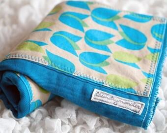 Baby burp cloth - Bright blue tulips hand dyed burp cloth