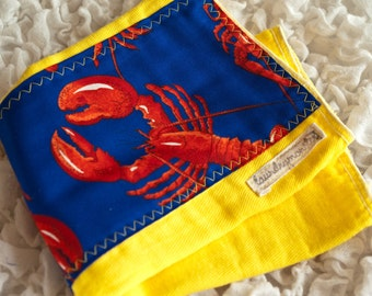 baby burp cloth - Lobsters on bright yellow hand dyed burp cloth
