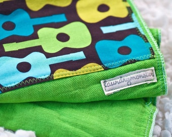 Baby burp cloth - Groovy guitars hand dyed bright green burp cloth