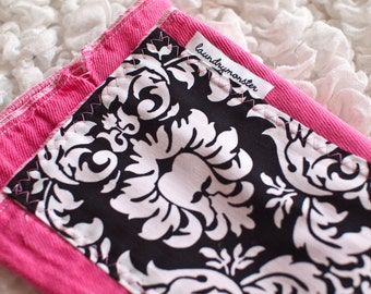 Baby burp cloth - Hot pink and black and white damask hand dyed burp cloth