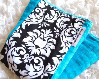 Baby burp cloth - Turquoise and black and white damask hand dyed burp cloth