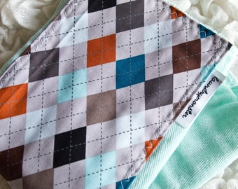 Baby burp cloth - Gray argyle on aqua hand dyed burp cloth