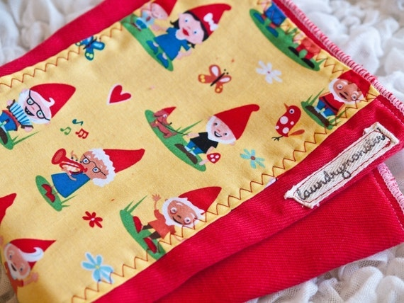 Bright red gnome village hand dyed burp cloth