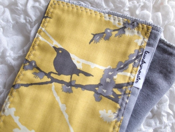 Burp Cloth birds and blossoms yellow and gray hand dyed