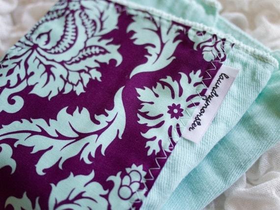 Baby burp cloth - purple damask on hand dyed aqua