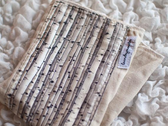Baby Burp cloth - birch trees ecru hand dyed burp cloth