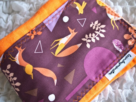 Baby burp cloth - Modern orange foxes hand dyed burp cloth