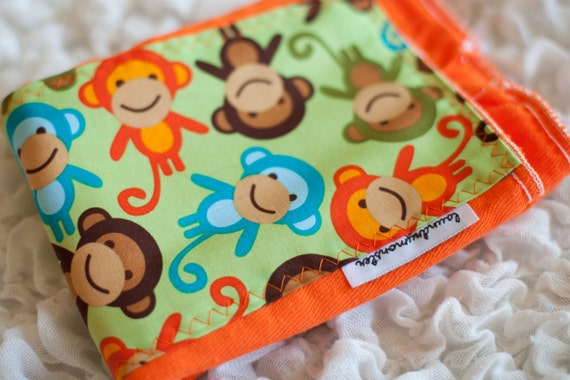 Baby Burp cloth - orange monkeys hand dyed burp cloth