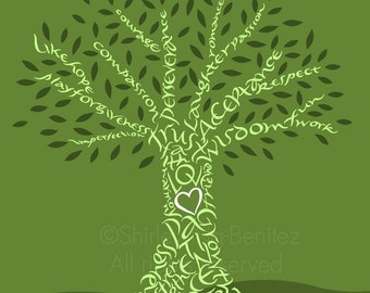 Handlettered Love Tree - Greens