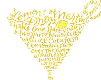 Handlettered Lemon Drop Martini Recipe Art Piece - Yellow