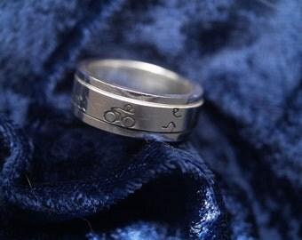 Triathlon spinner ring - Sterling silver