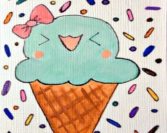 Cute ACEO Original Illustration Kawaii Painting - Happy Treat - 2.5 x 3.5