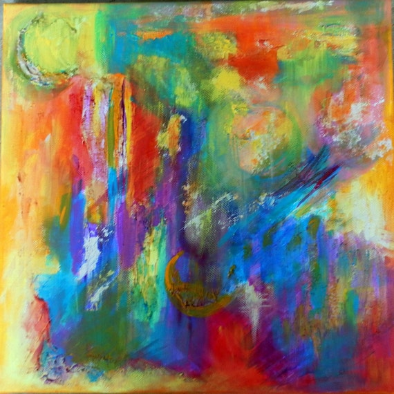 RESERVED FOR ANN--Abstract Original Painting - Vivid Bright - Under the Martian Sea 12 x 12