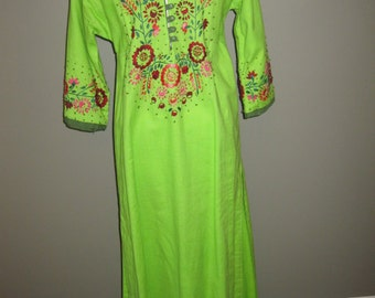 Vintage Mexican Dress Known as a Huipile Hand Embroidered Long Caftan
