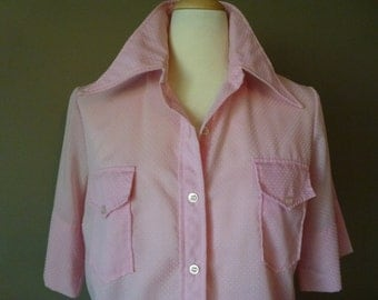 The Art Shirt Shirtdress Pink Huge Collar Tunic Dotted Swiss Art and Craft Smock