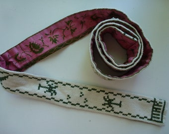 Vintage Belt Cross Stitched Palm Trees Pink White and Green Reversible