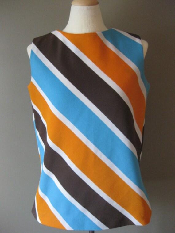 Vintage Diagonal Stripe Vest Top in Chocolate Brown Orange White and Aqua Blue Works as a Vest