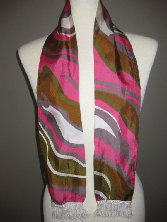 Vintage Groovy Abstract Pink Brown White Scarf with Fringe