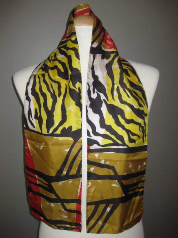 Zebra Scarf Vintage Black Gold Red White