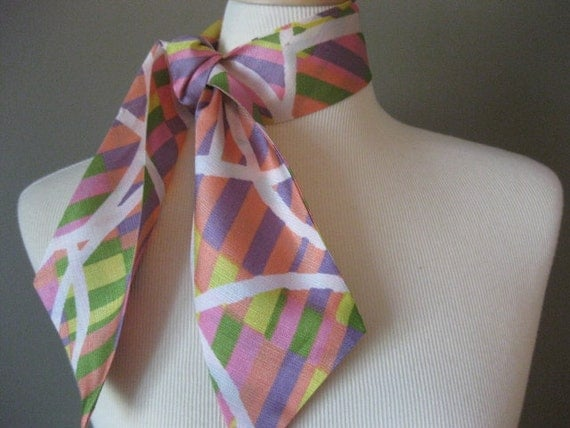 Vintage Scarf Silky Pink Green Purple and White Great Ascot
