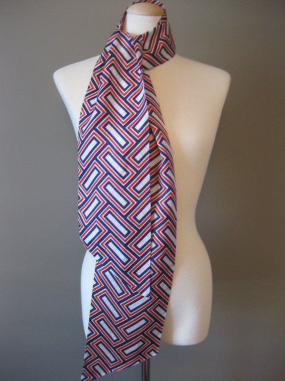 Red White and Blue Vintage Scarf Goemetric Rectangle Herringbone Pattern Sash