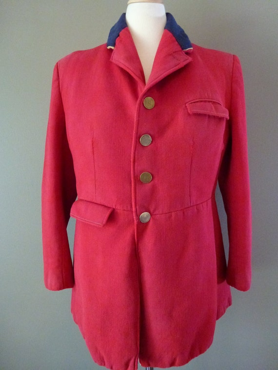 Authentic English Riding Jacket Vintage Red with Blue Collar and Brass Buttons