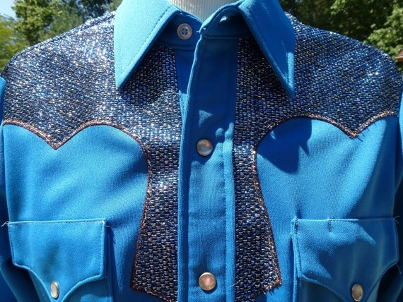 Mens Cowboy Western Shirt Snap Front Blue Metallic