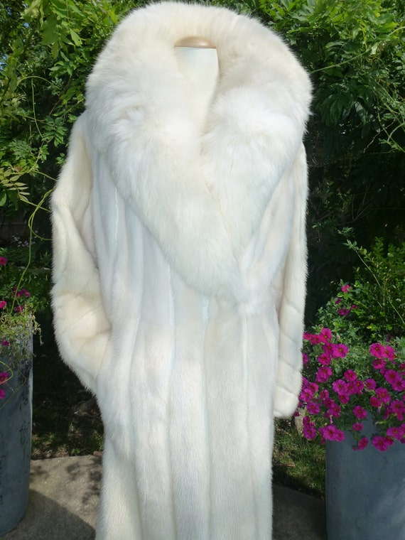 Long White Mink Fur Coat Vintage With Leather by thegypsygoat