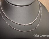 30 PURE silver plated---- 1.5mm BALL CHAINS in 24 inches with connectors